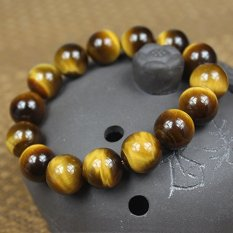Lucky Wang Career Crystal Bracelet Natural Yellow Tiger Eye Tiger Eye Cat Lucky Wang Career Men And Women With A - Bead Specifications 14MM [Men's Standard Specifications (Intl)