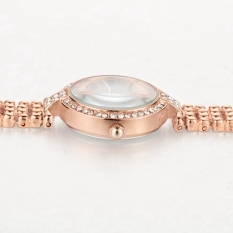 Luxury Bracelet Rose Gold Watch Women Fashion Full Stainless Steel Quartz Women Wristwatch (Rose Gold) (Intl)
