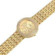 Luxury Brand Full Steel Rhinestone Ladies Casual Analog Women Quartz Wristwatches Gold (Intl)
