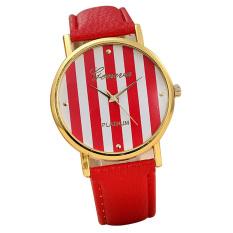 Luxury Brand Women Lady Watches High Quality Fashion Stripe Dial PU Leather Strap Fine Quartz Watch Relogio Feminino (Intl)