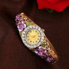 Luxury Elegant Bangle Watch Women Crystal Flower Strap Rhinestone Bracelet Quartz Watches (Blue)