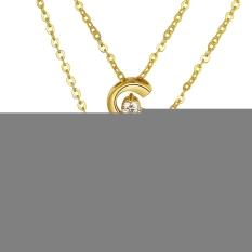 Luxury Elegant Crystal Half Circle Pendant Rhinestone Crystal Engagement Anniversary Chain Jewelry Necklace (Platinum Color)