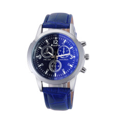 Luxury Fashion Crocodile Faux Leather Mens Analog Watch Watches (Blue)