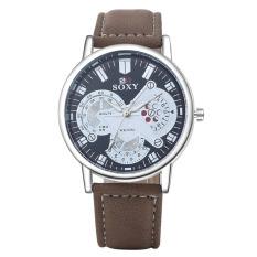 Luxury Fashion Sport Casual Watches Men Leather Quartz Analog Watch (Intl)