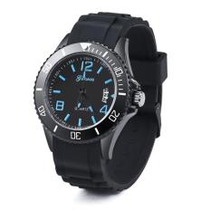 Luxury Geneva Watch Women's Men's Date Silicone Quartz Analog Wrist Watch Blue Free Shipping