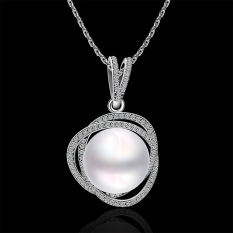 Luxury Pearl Typical Style Ornate Inlay Platinum Plated Pendant