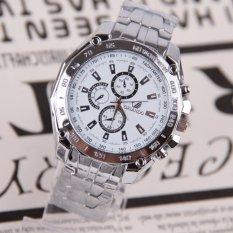 Luxury Stainless Steel Strap Quartz Man Waterproof Business Watch White