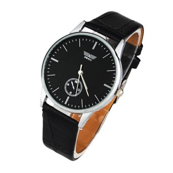 Classic Mans Quartz Electronic Analog Leather Strip Wrist Watch Black