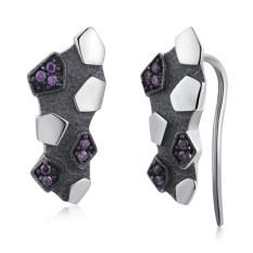 MBLife Unisex 925 Sterling Silver Purple CZ Black Plated Evil Meteorite Fragment Earrings - Intl