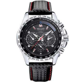 MEGIR 1010 Quartz Analog Wrist Watch for Men - Black - intl