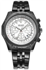 "'""Megir 2006B Men""s Sport Stainless Steel Strap Quartz Waterproof Watch (Black) (Intl) ""'"