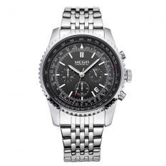 MEGIR 2008 Fashion Mens Quartz Wristwatch Men's Luxurious Business Waterproof Watch - Silver Black