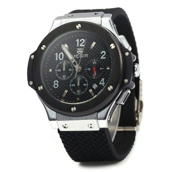 MEGIR 3002G Male Quartz Watch Silicone Band Luminous Pointer (Black)