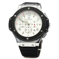 MEGIR 3002G Male Quartz Watch with Date Function Silicone Band Luminous Pointer 30M Water Resistance (BLACK) (Intl)