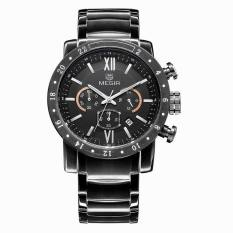Megir CHRONOGRAPH 24 Hours Function Black Stainess Steel Band Sport Watch Business Watches Dress Wristwatch Fashion Casual Men's Watch Relogio (Black) (Intl)