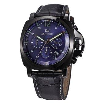 MEGIR Jam Tangan Pria Chronograph Genuine Leather Band Quartz Luxury ML 3006 G / BK-2 - Blue Black