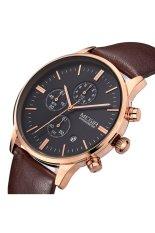 Megir Leather Strap Alloy Case Three Sub-Dials Fashion Men Watches - Brown Black Gold