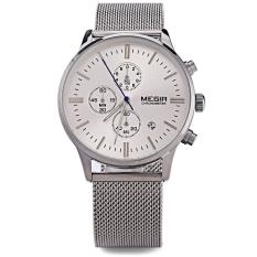 MEGIR M2011 Male Multifunctional Quartz Watch Calendar Chronograph Water Resistance Luminous Pointer Wristwatch (Silver)