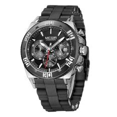 MEGIR Men's Sport Watch Chronograph 24 Hours Black Dial Black Silicone Band Men Quartz Casual Military Outdoor Wristwatch