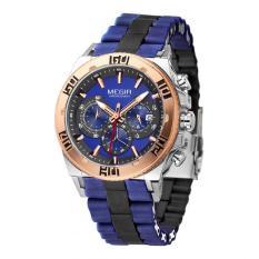 MEGIR Men's Sport Watch Chronograph 24 Hours Rose Gold Dial Black Silicone Band Men Quartz Casual Military Outdoor Wristwatch