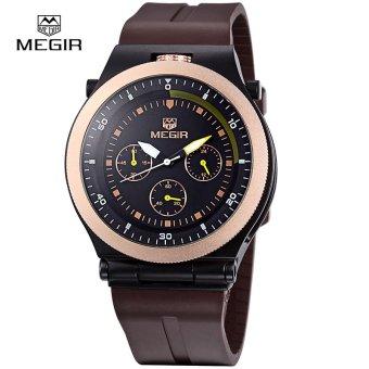 MEGIR Original Sports Men Watches Chronograph Rubber Strap Creative Quartz Watch Luminous Wristwatches 3003G - intl