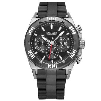 MEGIR Silicone Strap Quartz Man Wristwatch Excellent Analog Watch with Calendar and Sub-dial - intl
