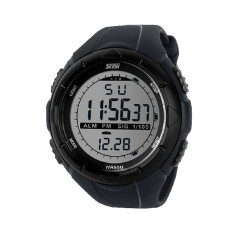 Men Beach Sports Military Watches LED Electronic Digital Watch 5ATM Waterproof Outdoor Dress Students Jelly Wrist Watch Gray (Intl)