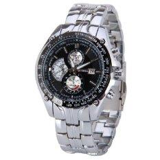 Men Luxury Fashion Business Three Eyes Quartz Watch Men Sport Stainless Steel Watches Leather Strap Wrist Watch Silver&black (Intl)