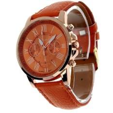 Men Male Simple Leather Belt Casual Fashion Pointer Watches Three Six-pin Quartz Watches Quartz Wristwatch Orange (Intl)