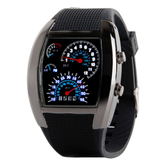 Men Sports LED Digital Watch Men's Race Speed Car Meter Dial Silicone Strap Male Military Wristwatch (Black) (Intl)