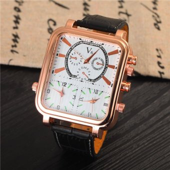 Men Sports Watch Quartz Watches Multi Time Zone Big Dial Square Male Antique Clock Leather Strap