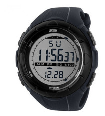 Men Sports Watches SKMEI Brand Digital Watch LED Outdoor Dress Wristwatches Black (Intl)