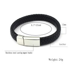 Men Stainless Steel Weave Silicone Bracelets Bangle Fashion Jewelry Black Braided Leather Bracelet (Color: Black)