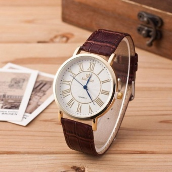 Men Watch Round Steel Case Leather Quartz Analog Wrist Watch Brown - intl