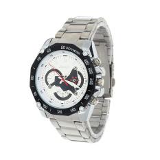 Men Waterproof Watches Three Six-pin Strip Watch Business Watches (White)
