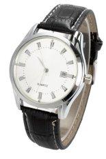 Men's Black Strap Synthetic Leather Strap Watch (Black)