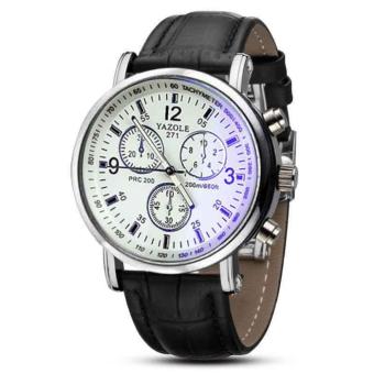Men's Fashion Analog Three Six-pin White Dial Business Wrist Watch - Intl