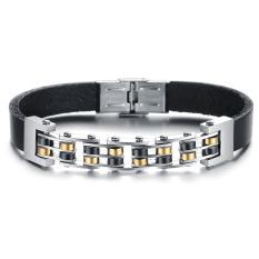 Men's Fashion Genuine Leather Bracelet Bangle with Blockchain Stainless Steel Golden