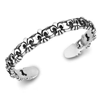 Men's Jewelry Fleur De Lys Bangle Cuff Bracelet Titanium Steel - Gelang Pria - 18cm - S
