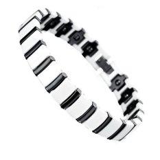 Men's Jewelry White & Black Ceramic Magnetic Therapy Bracelet - Gelang Pria - Kesehatan - 19cm - Putih Hitam