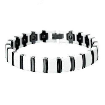 Men's Jewelry White & Black Ceramic Magnetic Therapy Bracelet - Gelang Pria - Kesehatan - 20cm - Putih Hitam