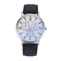 Mens Luxury Crocodile Faux Leather Analog High-end Business Wrist Watch Black