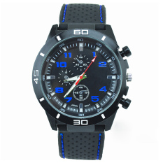 Men's Racer Military Pilot Aviator Army Silicone Sports Watch Wrist Watch Black Strap With Blue Words