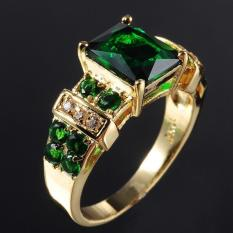 Men's Ring Emerald Zircon Crystal Jewelry Ring US Size - intl