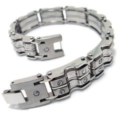 Mens Stainless Steel Cubic Zirconia Bracelet Bangle - Silver - 8.8 Inch