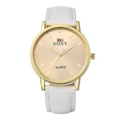 Men's Vintage Simple PU Band Automatic Wrist Watch Round Dial Casual Metal Stainless Steel Fashion White (INTL)