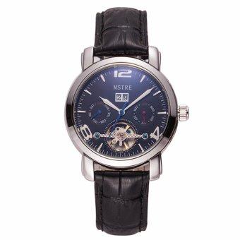 Men's watch belt flywheel automatic mechanical watches retro classic high-end men's Silver Black waterproof shell - intl
