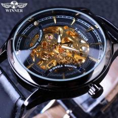 Mens Watches 2016 Fashion Black Golden Star Luxury Design Clock Mens Watch Top Brand Luxury Mechanical Skeleton Watch Male Wrist Watch - Intl