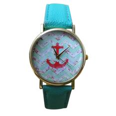 Mens Womens Anchor Faux Leather Quartz Dress Wrist Watch (Mint Green)