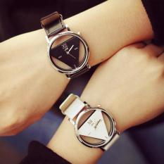 Men's Women's Couple Triangle Quartz Watches Black White